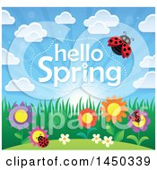 Clipart Graphic Of A Hello Spring Text Design With Flowers And Ladybugs Royalty Free Vector Illustration