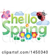 Clipart Graphic Of A Hello Spring Text Design With Flowers A Butterfly And Ladybug Royalty Free Vector Illustration