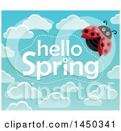 Clipart Graphic Of A Hello Spring Text Design With Clouds And A Ladybug Royalty Free Vector Illustration
