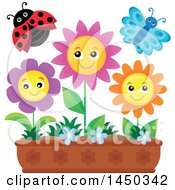 Clipart Graphic Of A Butterfly Ladybug And Spring Flowers In A Garden Royalty Free Vector Illustration