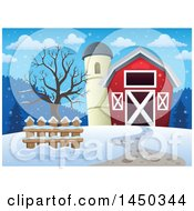 Clipart Graphic Of A Red Barn And Silo In The Winter Royalty Free Vector Illustration
