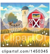 Clipart Graphic Of A Red Barn And Silo In Autumn Royalty Free Vector Illustration