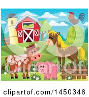 Clipart Graphic Of A Horse Pig Cow And Chicken In Front Of A Red Barn And Silo In The Spring Or Summer Royalty Free Vector Illustration by visekart