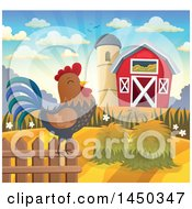 Clipart Graphic Of A Rooster Crowing At Sunrise Against A Red Barn And Silo In Autumn Royalty Free Vector Illustration