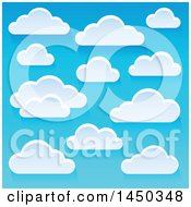 Clipart Graphic Of A Background Of Puffy White Clouds In A Blue Sky Royalty Free Vector Illustration