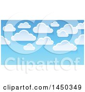 Clipart Graphic Of A Background Of Fluffy White Clouds In A Blue Sky Royalty Free Vector Illustration