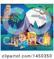 Clipart Graphic Of A Dog And Kids In A Camping Tent Royalty Free Vector Illustration by visekart