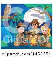 Clipart Graphic Of A Group Of Scout Kids Hanging Around A Camp Fire Royalty Free Vector Illustration