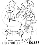 Clipart Graphic Of A Black And White Lineart Maid Spraying Cleanser And Dusting Royalty Free Vector Illustration