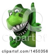 Clipart Graphic Of A 3d Green Tommy Tyrannosaurus Rex Dinosaur Mascot Looking Around A Sign On A White Background Royalty Free Illustration