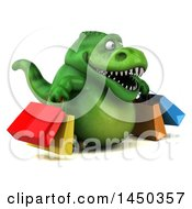 3d Green Tommy Tyrannosaurus Rex Dinosaur Mascot Carrying Shopping Bags On A White Background