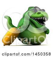 Clipart Graphic Of A 3d Green Tommy Tyrannosaurus Rex Dinosaur Mascot Traveler On A White Background Royalty Free Illustration