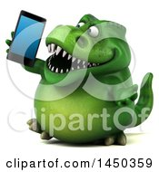 Clipart Graphic Of A 3d Green Tommy Tyrannosaurus Rex Dinosaur Mascot Talking On A Smart Phone On A White Background Royalty Free Illustration