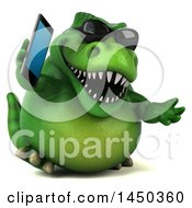 Clipart Graphic Of A 3d Green Tommy Tyrannosaurus Rex Dinosaur Mascot Talking On A Smart Phone On A White Background Royalty Free Illustration by Julos