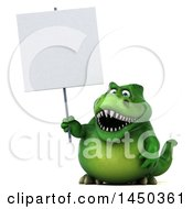 Clipart Graphic Of A 3d Green Tommy Tyrannosaurus Rex Dinosaur Mascot Holding A Blank Sign On A White Background Royalty Free Illustration