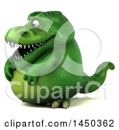 Clipart Graphic Of A 3d Green Tommy Tyrannosaurus Rex Dinosaur Mascot On A White Background Royalty Free Illustration