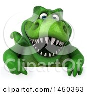Clipart Graphic Of A 3d Green Tommy Tyrannosaurus Rex Dinosaur Mascot Over A Sign On A White Background Royalty Free Illustration