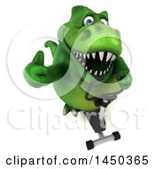 Clipart Graphic Of A 3d Green Tommy Tyrannosaurus Rex Dinosaur Mascot Exercising On A Spin Bike On A White Background Royalty Free Illustration