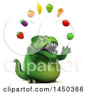 Clipart Graphic Of A 3d Green Tommy Tyrannosaurus Rex Dinosaur Mascot Juggling Produce On A White Background Royalty Free Illustration