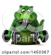 Clipart Graphic Of A 3d Green Tommy Tyrannosaurus Rex Dinosaur Mascot Working Out With Dumbbells On A White Background Royalty Free Illustration by Julos