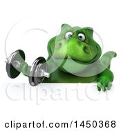 Clipart Graphic Of A 3d Green Tommy Tyrannosaurus Rex Dinosaur Mascot Working Out With A Dumbbell On A White Background Royalty Free Illustration by Julos