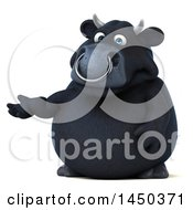 Clipart Graphic Of A 3d Black Bull Character Presenting On A White Background Royalty Free Illustration