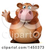 Clipart Graphic Of A 3d Brown Cow Character Waving On A White Background Royalty Free Illustration by Julos