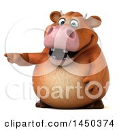 Clipart Graphic Of A 3d Brown Cow Character Pointing On A White Background Royalty Free Illustration by Julos