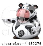 Clipart Graphic Of A 3d Holstein Cow Character Pointing On A White Background Royalty Free Illustration by Julos