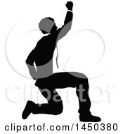 Black And White Silhouetted Business Man Kneeling And Cheering
