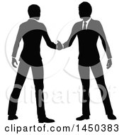 Clipart Graphic Of Black And White Silhouetted Business Men Shaking Hands Royalty Free Vector Illustration by AtStockIllustration