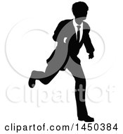 Black And White Silhouetted Business Man Running
