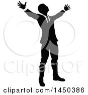 Clipart Graphic Of A Black And White Silhouetted Business Man Worshipping Royalty Free Vector Illustration by AtStockIllustration