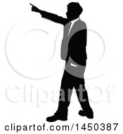 Black And White Silhouetted Business Man Pointing