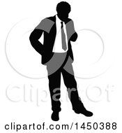 Black And White Silhouetted Business Man Thinking