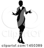Clipart Graphic Of A Black And White Silhouetted Business Woman Shrugging Royalty Free Vector Illustration
