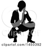 Clipart Graphic Of A Black And White Silhouetted Business Woman Crouching Royalty Free Vector Illustration