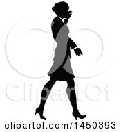 Clipart Graphic Of A Black And White Silhouetted Business Woman Walking Royalty Free Vector Illustration