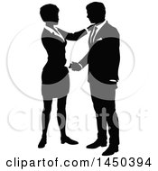 Clipart Graphic Of A Black And White Silhouetted Business Man And Woman Shaking Hands Royalty Free Vector Illustration by AtStockIllustration