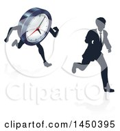 Clipart Graphic Of A Silhouetted Business Man Racing A Clock Character With A Reflection Royalty Free Vector Illustration by AtStockIllustration