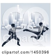 Clipart Graphic Of Silhouetted Business Men Kung Fu Fighting Over A City Royalty Free Vector Illustration