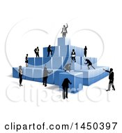 Poster, Art Print Of Team Of Silhouetted Business Men And Women Climbing A Pyramid Of 3d Blue Cubes