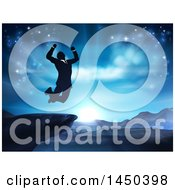 Clipart Graphic Of A Silhouetted Business Man Jumping And Cheering On A Cliff Against A Blue Sky Over Mountains Royalty Free Vector Illustration