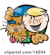 Happy Freckled Blond Boy With His Dog Clipart Illustration