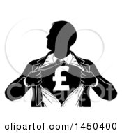 Clipart Graphic Of A Black And White Silhouetted Strong Business Man Super Hero Ripping Off His Suit Revealing A Pound Currency Symbol Royalty Free Vector Illustration