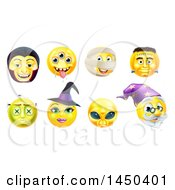 Clipart Graphic Of Yellow Halloween Smiley Emoji Emoticon Faces Royalty Free Vector Illustration by AtStockIllustration