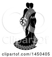 Clipart Graphic Of A Black And White Silhouetted Posing Wedding Bride And Groom Royalty Free Vector Illustration by AtStockIllustration