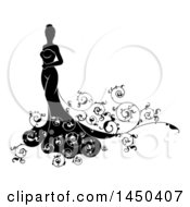 Clipart Graphic Of A Silhouetted Black And White Bride In Her Wedding Dress With Swirls Royalty Free Vector Illustration