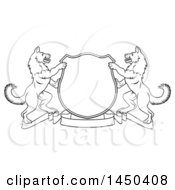 Clipart Graphic Of A Black And White Lineart Alsatian Coat Of Arms Shield With A Collar Royalty Free Vector Illustration