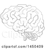 Clipart Graphic Of A Grayscale Human Brain With Electrical Circuits Royalty Free Vector Illustration